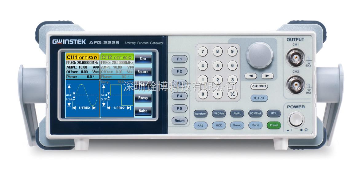 * 宽频率范围 1μHz - 25MHz (正弦波) * 全频段1 μHz 分辨率 * 内置独立等性能双通道标准的 120MSa/s, 10bit, 4k 点任意波 * 真正双通道输出, CH2提供与通道一同规格的信号输出 * 双通道功能支持耦合,跟踪,相位操作 * 1% ~ 99% 方波可调占空比 * 友善的用户操作界面,方便用户进行参数设定 * 提供多种任意波编辑信号编辑功能 * 内置标准的AM/FM/PM/FSK/SUM/Sweep/Burst和计频器功能 * 提供USB Host/De