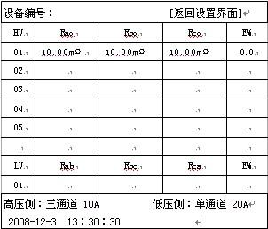 文本框: 设备编号:                     [返回设置界面]HVRaoRboRcoE%0110.00mΩ10.00mΩ    10.00mΩ    0.002030405LVRabRbcRcaE%01高压侧:三通道 10A          低压侧:单通道 20A2008-12-3  13:30:30