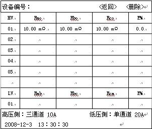 文本框: 设备编号:                      <返回>   <删除>HVRaoRboRcoE%0110.00 mΩ10.00 mΩ    10.00 mΩ    0.002030405LVRabRbcRcaE%01高压侧:三通道 10A           低压侧:单通道 20A2008-12-3  13:30:30