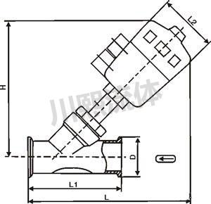 卫生级气动角座阀尺寸图