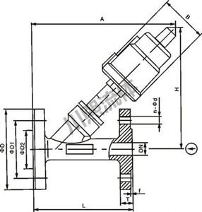 不锈钢气动角座阀尺寸图