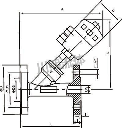 法兰式卫生级气动角座阀尺寸图